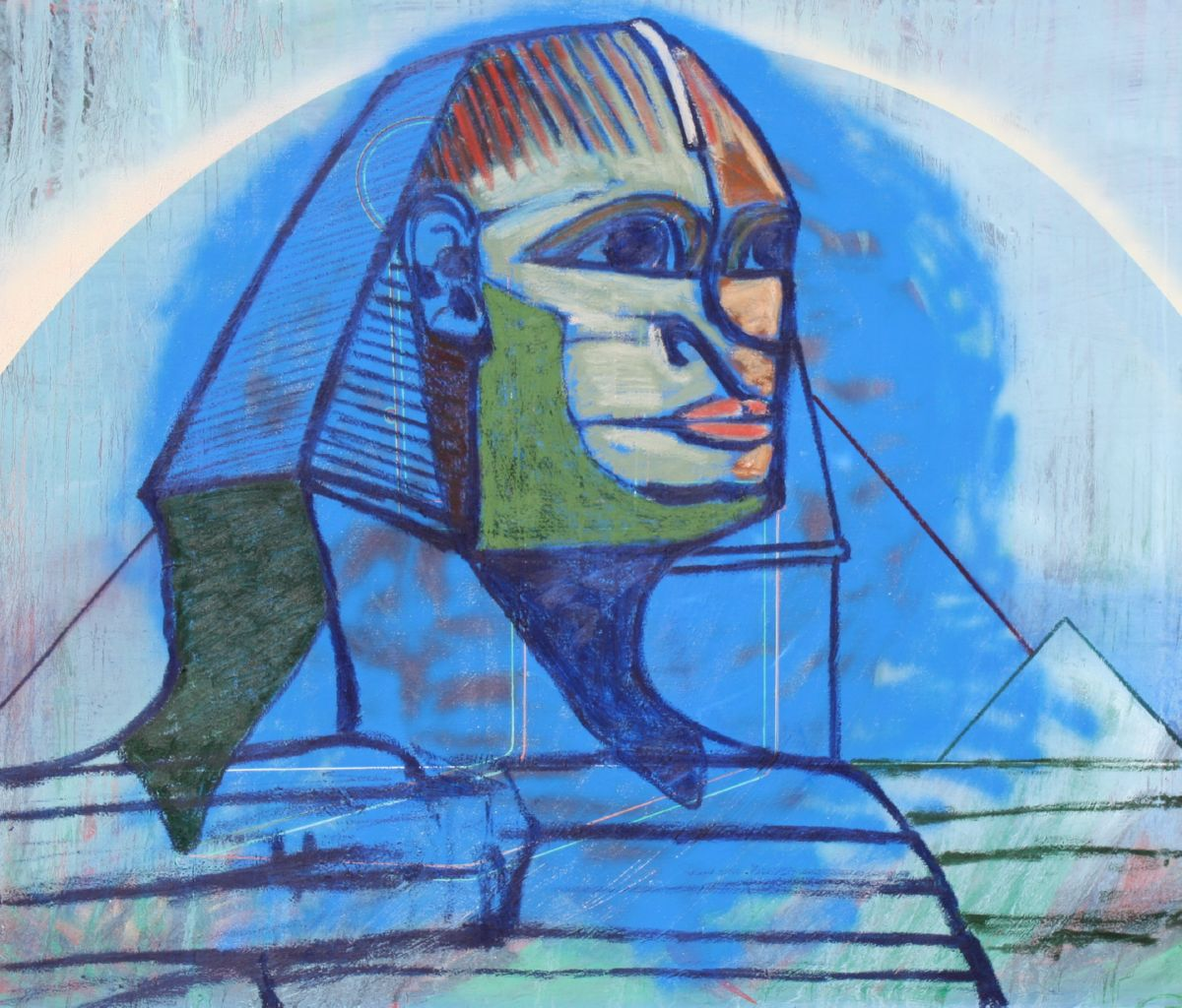 Blue Sphinx, art for sale online by Joe McGee