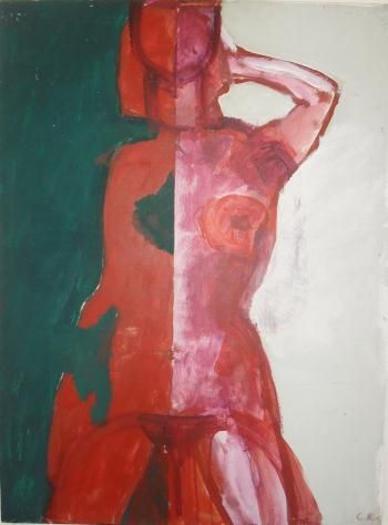 The Red Model, art for sale online by Carl Kohler