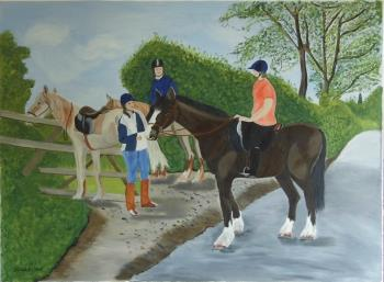 riders meeting, art for sale online by teresa deborah ryle