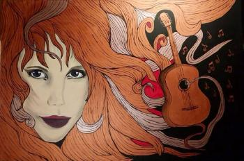 Koppargitarr, art for sale online by Lotta Olofsson