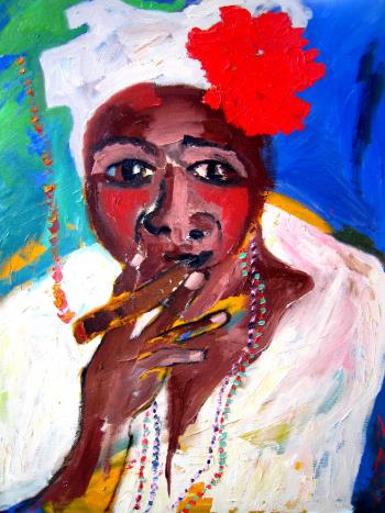 Cuban Woman In White, art for sale online by Ginny Nagy