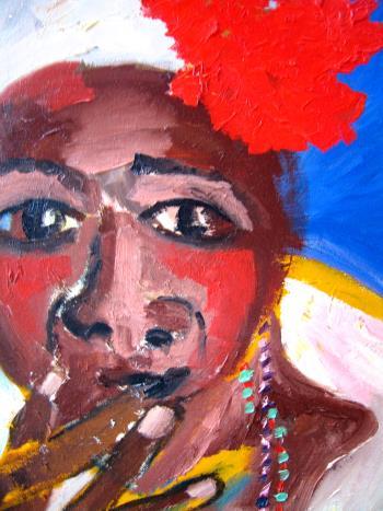 Cuban Woman In White artwork by Ginny Nagy