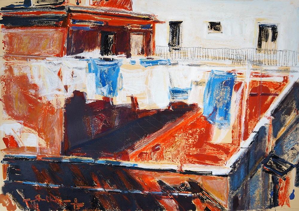 Color Transfer / Loundry in Llafranc artwork by Helen Shulkin - art listed for sale on Artplode