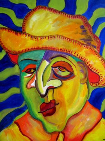 Man With Hat, art for sale online by Ginny Nagy