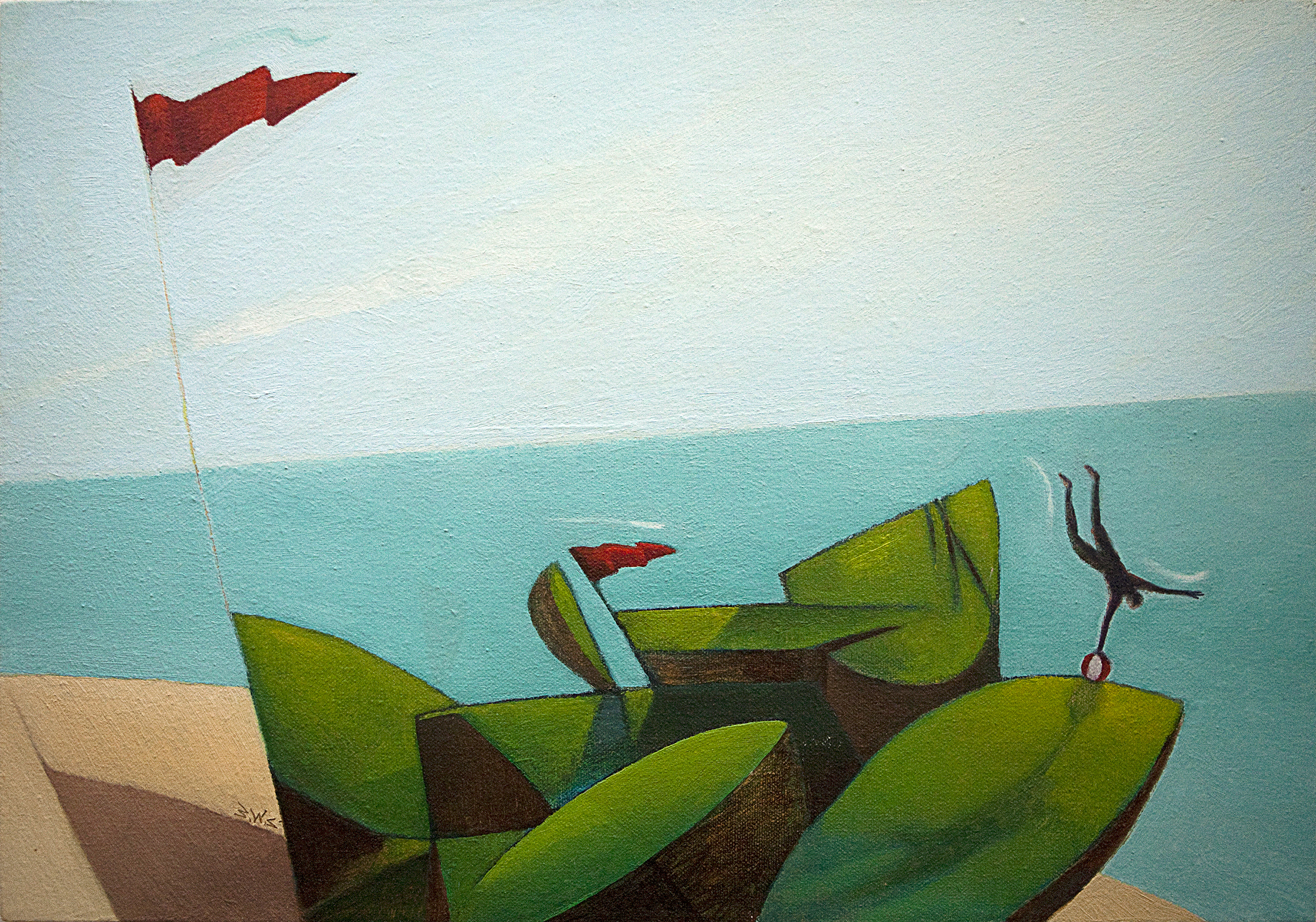 Beach Day artwork by Barry Scharf - art listed for sale on Artplode