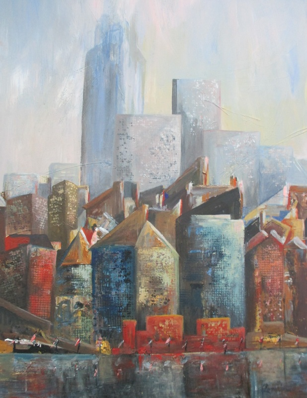 NEW YORK NEW PERSPECTIVE artwork by ROMAINE KAUFMAN - art listed for sale on Artplode