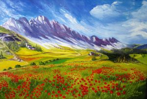 Alpine Landscape with Poppies, art for sale online by Elena Roush
