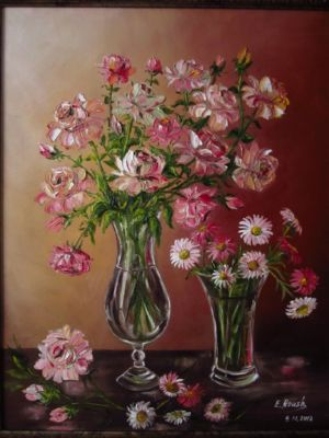 Pink Flowers in a Glass Vases., art for sale online by Elena Roush