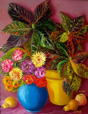 Still Life with Croton Plant, art for sale online by Elena Roush
