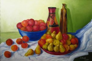 Still Life with Peaches and Pears, art for sale online by Elena Roush