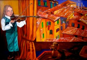A Little Violinist and Italian Roofs., art for sale online by Elena Roush