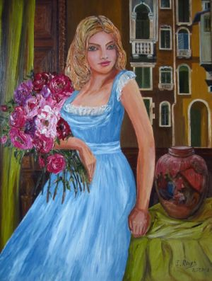 A Girl with Roses and Italian Court Yard, art for sale online by Elena Roush