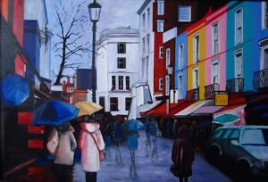 European Street. Rain., art for sale online by Elena Roush