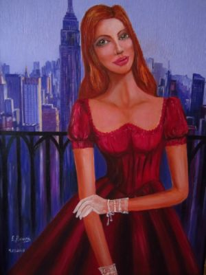 A Lady in New York, art for sale online by Elena Roush