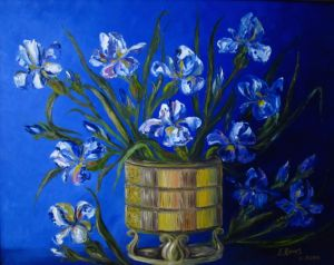 Irises on Blue., art for sale online by Elena Roush
