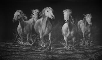 Cinco Caballos, art for sale online by David Swope