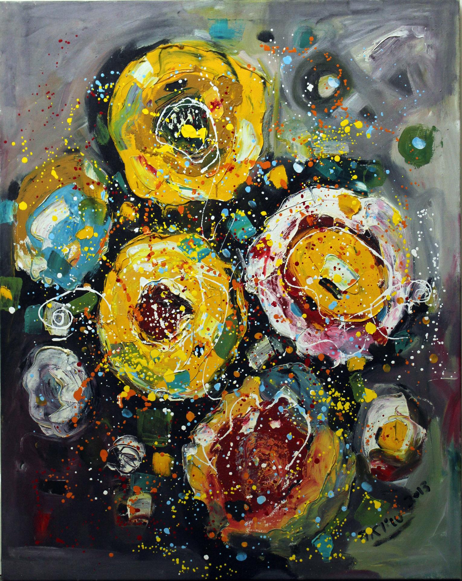 Flower artwork by Aklilu Temesgen - art listed for sale on Artplode