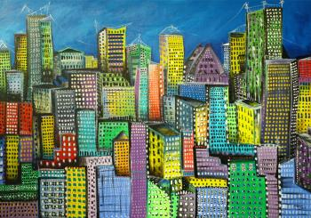 The City Unfolds, art for sale online by Maria Curcic