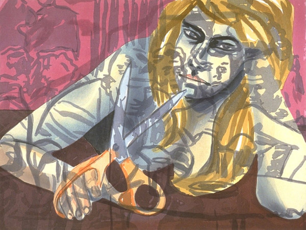 Portrait With Scissors and Nightclub, art for sale online by David Salle