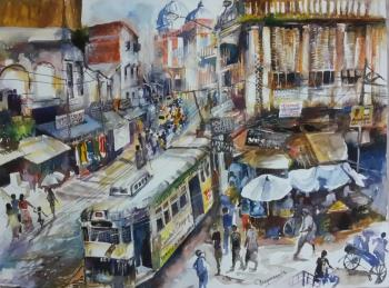 Kolkata Market Place, art for sale online by Deepanwita Paul