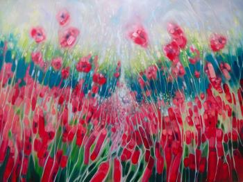 Summer Symphony a large abstract Sussex landscape painting, art for sale online by Gill Bustamante
