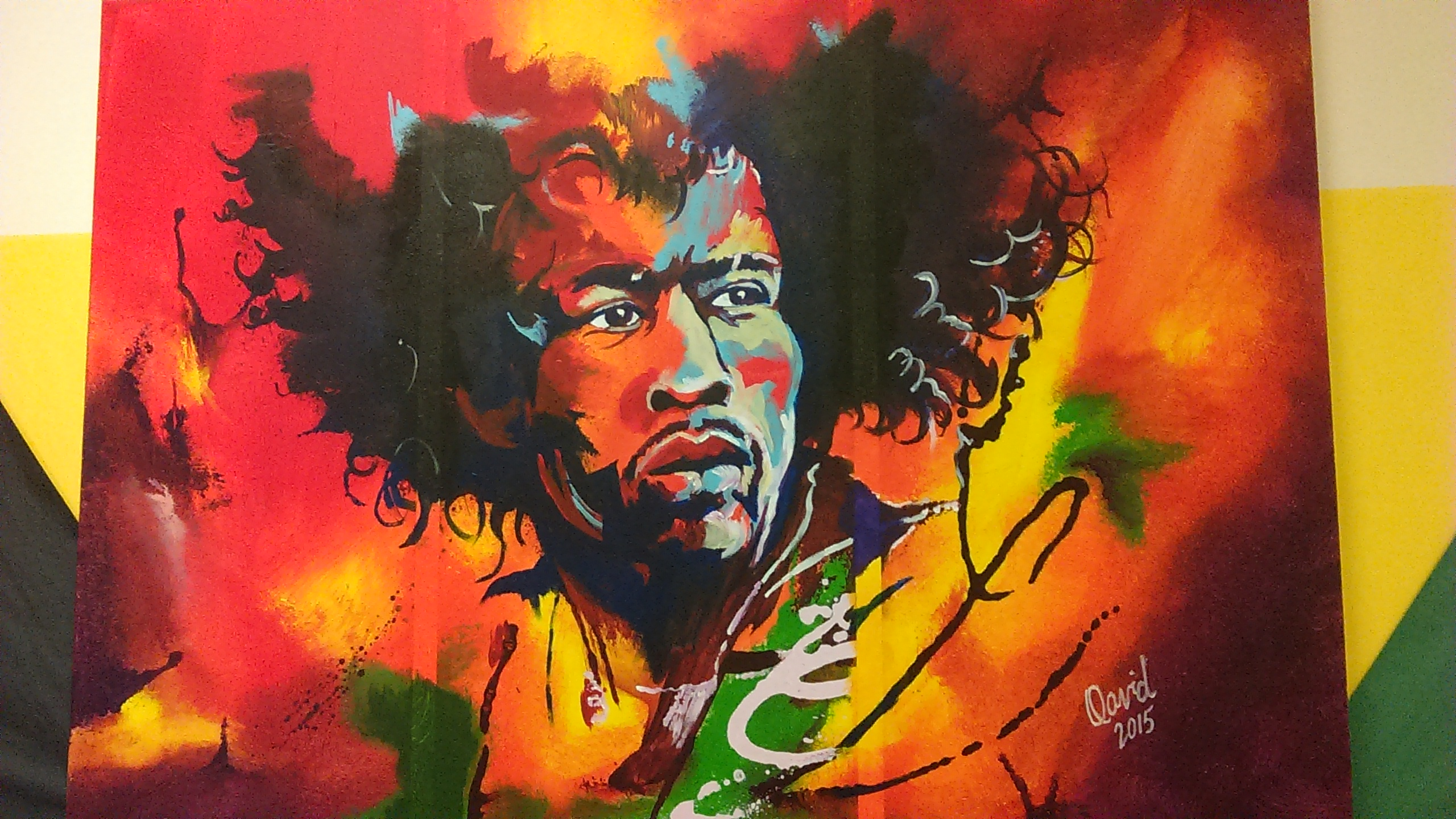 Jimmi Hendrix on fire artwork by David David - art listed for sale on Artplode
