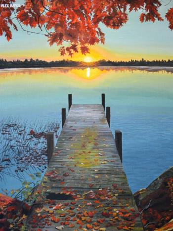 Sunset over a Placid Lake, art for sale online by Alex Ramos