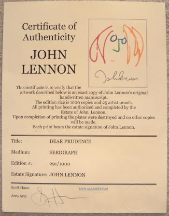 Dear Prudence artwork by John Lennon
