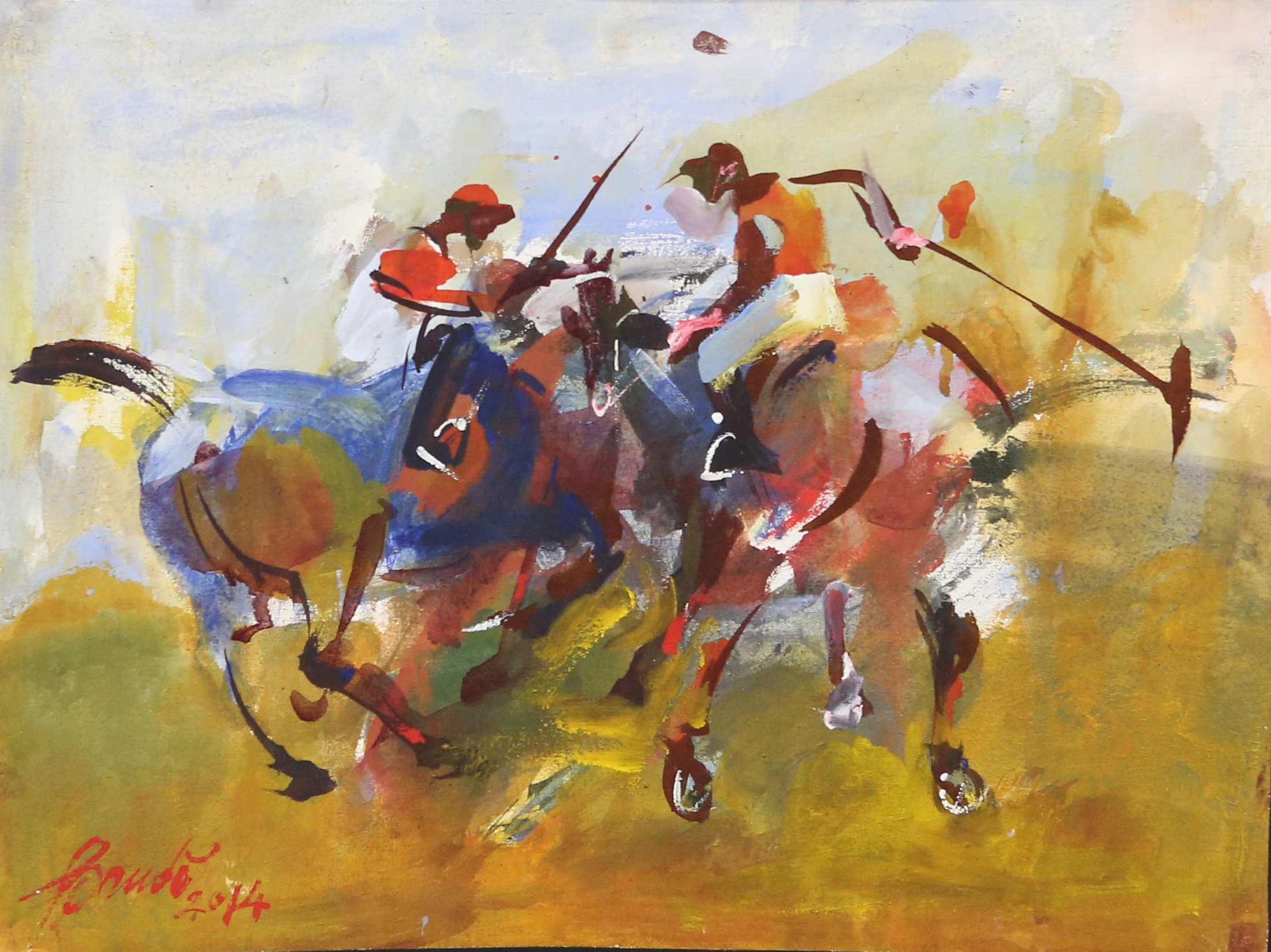 Polo players artwork by Ivankovitch Baudo - art listed for sale on Artplode