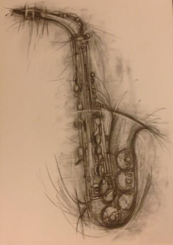 Vibrant saxophone charcoal drawing, art for sale online by Penny Warden