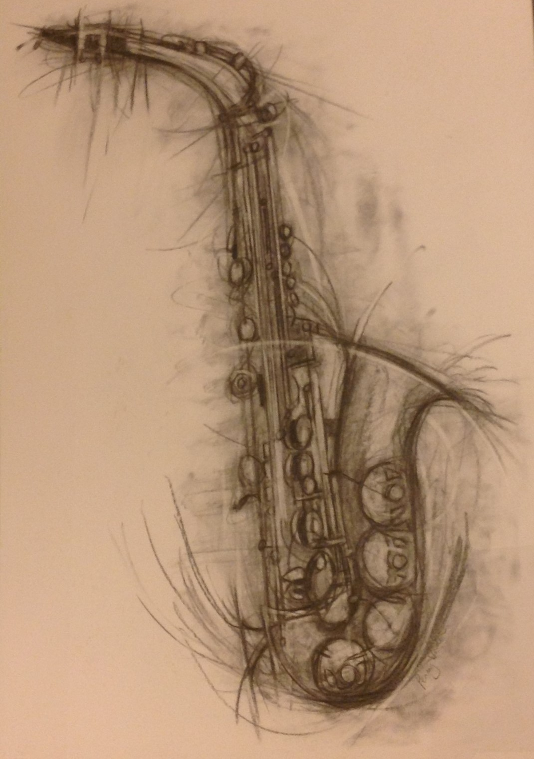 Vibrant saxophone charcoal drawing artwork by Penny Warden - art listed for sale on Artplode