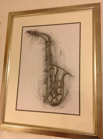 Vibrant saxophone charcoal drawing artwork by Penny Warden