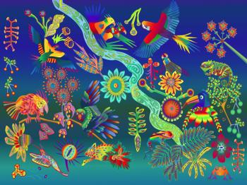 Fun Animals in Rainforest, art for sale online by Sarah Molloy nee Walker