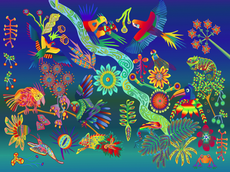 Fun Animals in Rainforest artwork by Sarah Molloy - art listed for sale on Artplode