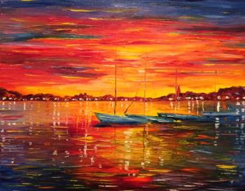 sunset on the med, art for sale online by Greg Gilreath