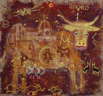Pregnant Heifer at the Duomo, art for sale online by Brent Weston