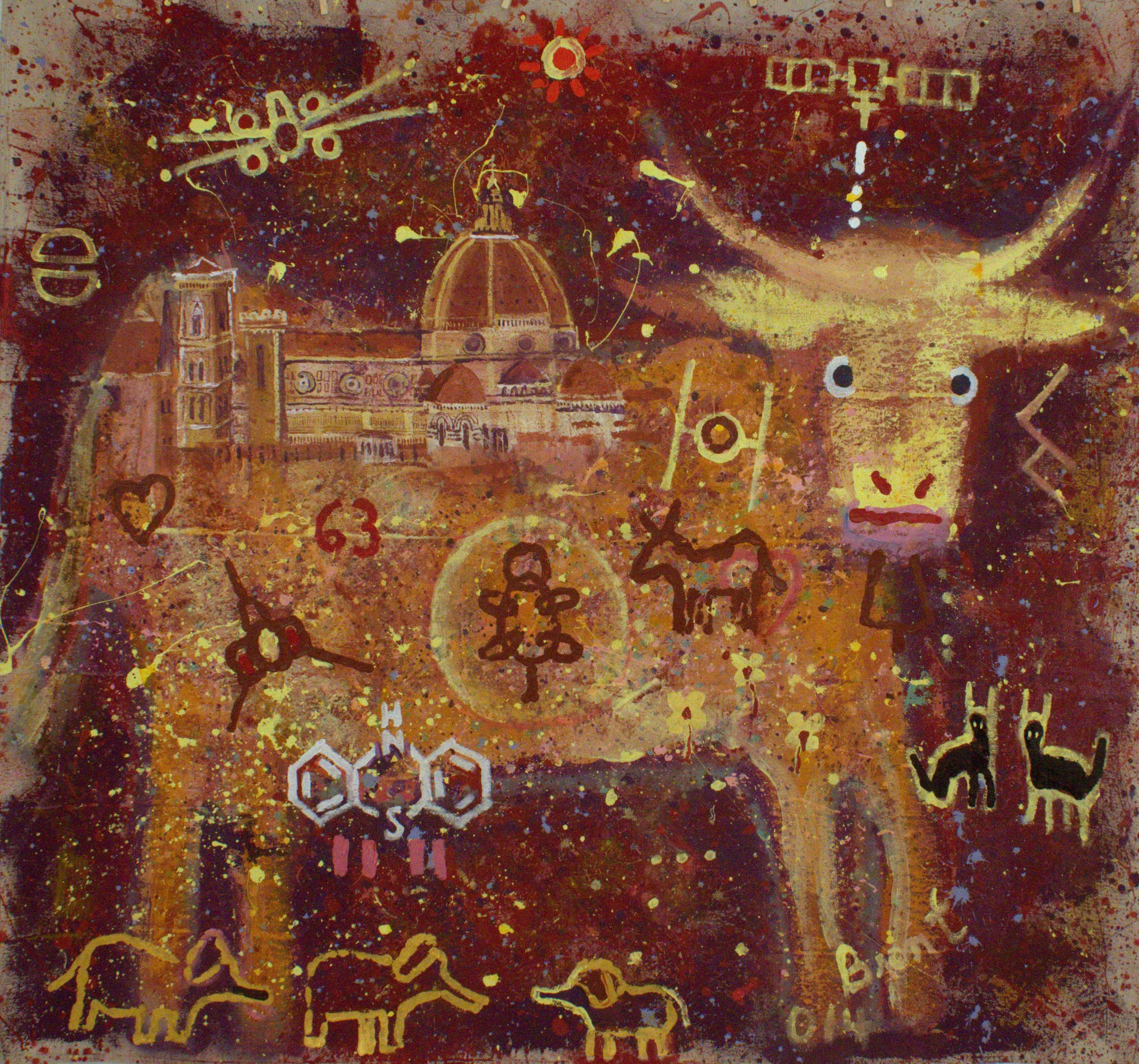 Pregnant Heifer at the Duomo artwork by Brent Weston - art listed for sale on Artplode
