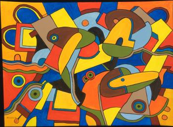 Ducks in park, art for sale online by Val Klever