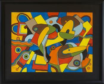Ducks in park artwork by Val Klever - art listed for sale on Artplode