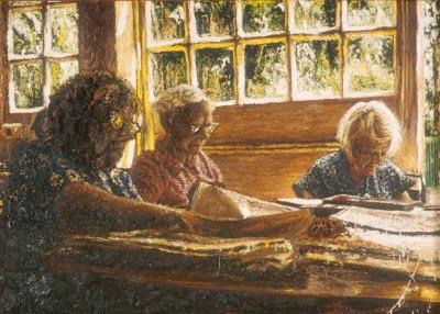 Women at a table artwork by Dariusz Romanowski - art listed for sale on Artplode