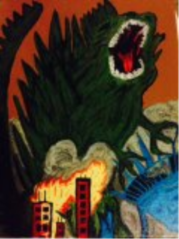 Madzilla New York, art for sale online by Karen Sandry