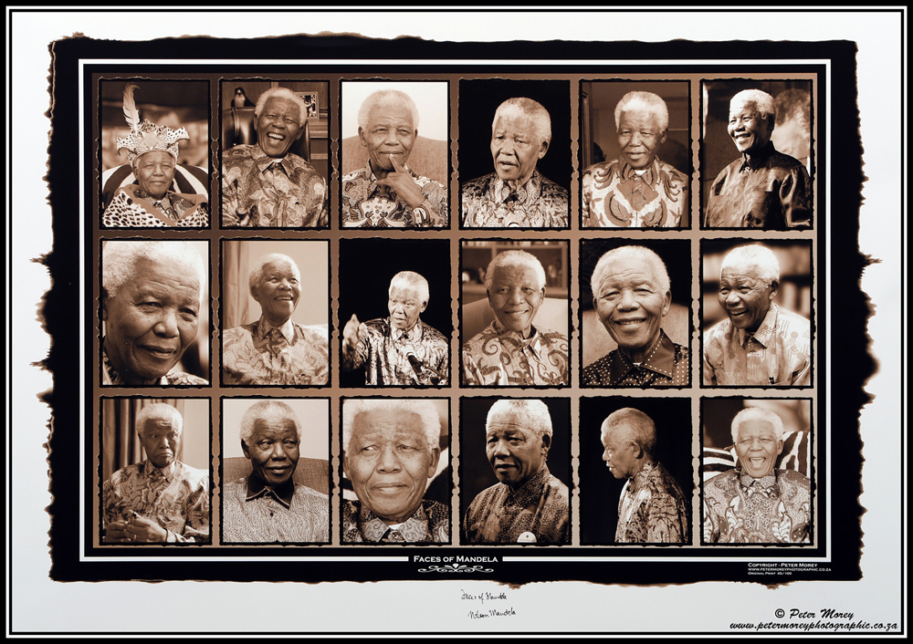Nelson Mandela Faces of Mandela artwork by Peter Morey - art listed for sale on Artplode