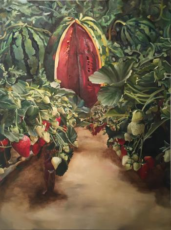 Patches of Red and Green , art for sale online by Clarissa Wong
