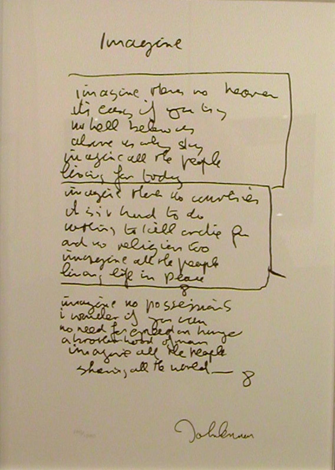 Imagine lyric artwork by John Lennon - art listed for sale on Artplode