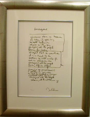 Imagine lyric artwork by John Lennon