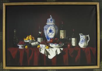 Les Fruits et les Bouteilles, art for sale online by Herve Sbarberi