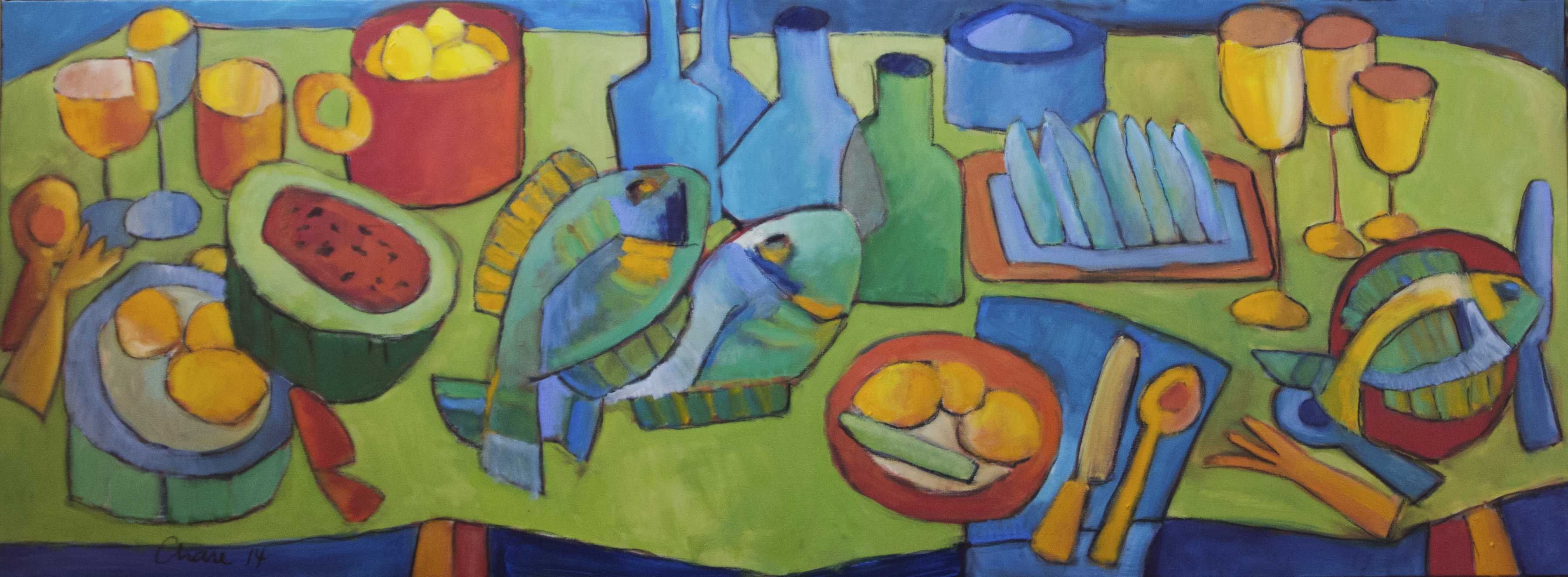 Banquet Summer with Fish artwork by Chase Bailey - art listed for sale on Artplode