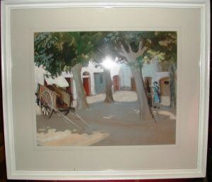 Artist in Continental Market Square artwork by Frances Hodgkins - art listed for sale on Artplode