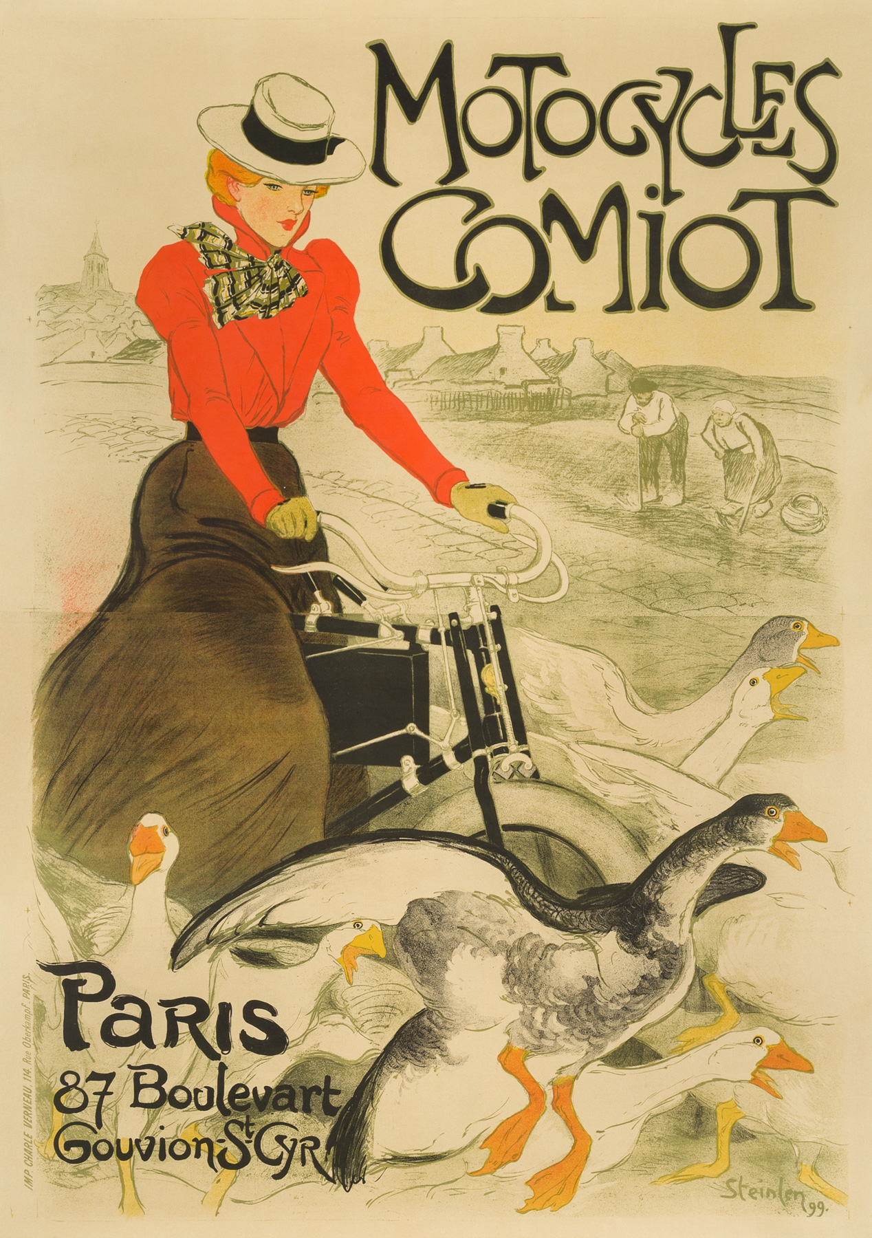Motocycles Comiot artwork by Theophile Alexandre Steinlen - art listed for sale on Artplode