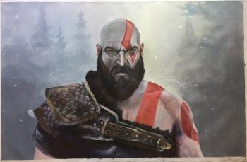 Kratos God of War, art for sale online by Benjamin Flamel